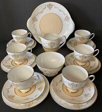 Shelley Gold Motif Peach Band 21 Piece Tea Set No.14183