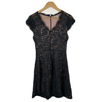 H&M Womens Dress Size Small Black Lace Floral Design Pink Lined Gorgeous