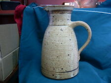 Vintage Ceramic Pottery Ribbed Brown & Cream Colored Pitcher #2024