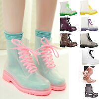 Ladies Women Jelly Wellies Boots Rain Winter Lace Up Clear Doc Shoes