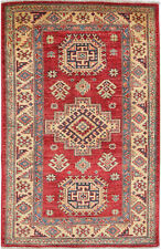 2.5X4 Hand-Knotted Kazak Carpet Tribal Red Fine Wool Accent Rug D45497