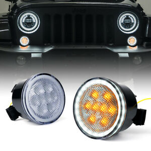 LED Amber Turn Signal Light with Clear Lens& Halo DRL for 07-18 Jeep Wrangler JK