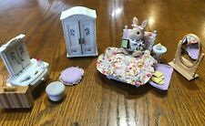 🐰 Calico Critters Deluxe Floral Bedroom Set + Bunny Critter +Extra Accessories