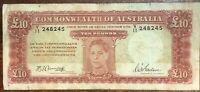 Australia R-59. (1943) £10 - Armitage/McFarlane.. George VI Banknote