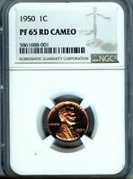 1950 LINCOLN CENT - NGC  PF65 CAMEO RED - LOW POP  - FEW GRADED HIGHER