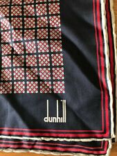ALFRED DUNHILL Blue White & Red Squares Silk Pocket Square Handkerchief Hanky