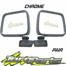 MIRRORS PAIR MANUAL CHROME SUIT HOLDEN RODEO TF SKIN MOUNT DOOR SIDE REAR VISION