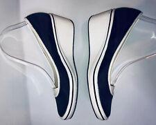 Women's Black Nylon  Rubber Soles Wedge Platforms Sz 9 Slip On Shoes