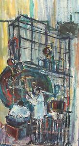 vintage abstract surrealist portrait oil painting