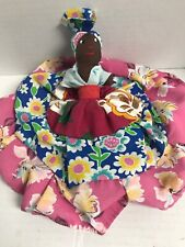 Vtg Caribbean St Lucia Topsy turvy Doll Tropical Dress & Head covering Hat