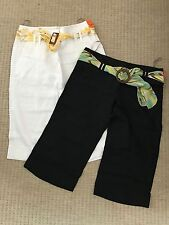 River Island 2 x New Women's Ladies Cropped Linen Trousers Black & White Size 12
