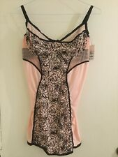Coquette Flocked Floral Chemise 7198  Pink/ Black, XL, New