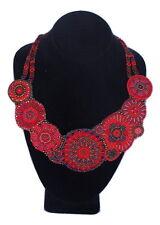 NE503 Necklace Medallions Garnet Crystals Glass Beads Fair Trade Artisan Collar