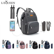 LEQUEEN USB USB Nappy Backpack Baby Diaper With Stroller Hook Feeding Bottle Bag