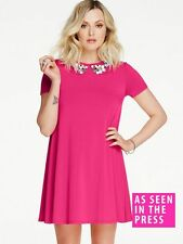 BRAND NEW FEARNE COTTON PINK EMBELLISHED NECK SWING DRESS SIZE UK 14