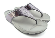 FITFLOP Size 8 ELECTRA Silver Sequin Thong Sandals Shoes