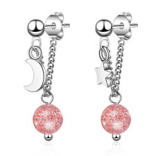 925 Sterling Silver Strawberry Crystal Ball Star Stud Earrings Womens Jewellery