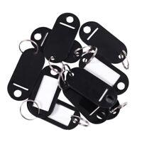 Black Plastic Key Chain / ID Tag, 10 Pieces - Silver, One Size I1R5