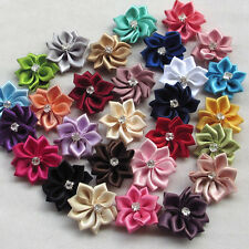 10pcs Mix Satin Ribbon Flowers Bows w/ Rhinestone Appliques Craft Wedding Dec