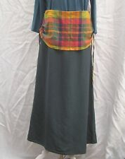 BNWT XL boho NEW FLOWERS long teal skirt with bright check trim