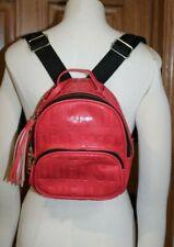 Steve Madden Women's Mini Backpack Shoulder Bag Purse Zip Red Black Embossed