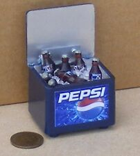 1:12 Scale Pepsi Cooler Box With 7 Bottles & Ice Dolls House Pub Cafe Drink
