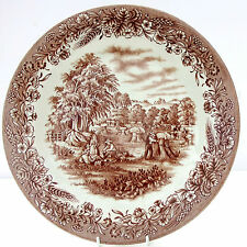 Vintage Churchill Currier & Ives Harvest Marron Blanc Dîner Plaque