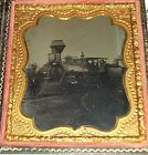 OUTDOOR Tintype Locomotive Railroad Train, Coal Car, RR conductor, workers.