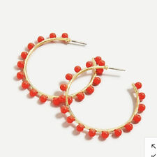 Out! New$29.50 Spicy Orange Authentic J.Crew Beaded Hoop Earrings! Sold