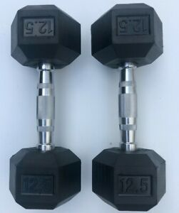BRAND NEW 12.5LB PAIR OF RUBBER COATED HEX DUMBBELLS WEIGHTS FOR COMMERCIAL GYM