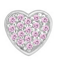 LOVELINKS BY PASTICHE   HEART IN SILVER & PINK CUBIC ZIRCONIA TT359PI MINT