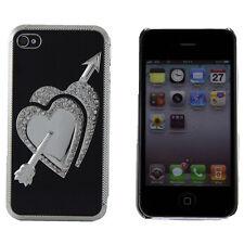 Apple iPhone 4 4S 4G Black Hard Case Chrome Hearts Rhinestone Bling Cover Skin