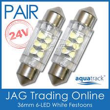 2 x 24V 36mm 6-LED WHITE FESTOON LIGHT GLOBES -Truck/Trailer/Caravan/RV/Interior