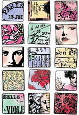 PARIS France Memory Rubber Stamp Card Easter Travel butterfly die cut rose Doll