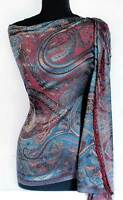 Shades of Blue & Red Silk Shawl. Reversible, Indian Stole. Jamawar Pashmina Wrap
