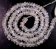 """GENUINE RAINBOW MOONSTONE FACETED RONDELLE BEADS 13"""" 4.5 mm  Z57"""
