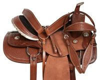 TEXAS KING RANCH TEAM ROPING COWBOY LEATHER HORSE SADDLE TACK SET 15 16
