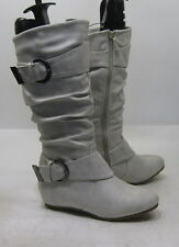 "Ivory 1.5"" hidden wedge heel round toe top side buckle mid-calf boot .Size  5"