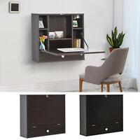 HOMCOM Computer Desk Drop-Leaf Table with Storage Shelves Home Office