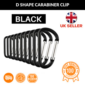 10 Black Carabiner Small Spring Clip Snap Clasp Hook Carabina Karabiner UK N