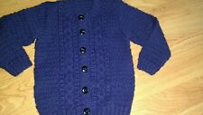 New: Hand Knitted Navy Boy/ Girl / Unisex D.K Aran style Cardigan 2-3 Yrs