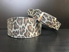 LARGE Leather Dog Collar LINED Greyhound Whippet Saluki GREY LEOPARD PRINT