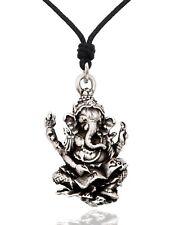 Hindu Ganesh Indian Elephant God Silver Pewter Gold Brass Necklace Pendant Jewel