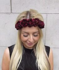 Burgundy Deep Red Rose Flower Garland Headband Festival Hair Crown Boho Vtg 3147