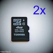 2 x Toshiba 4GB microSD SDHC class 4 microSD Speicherkarten C04G Sparpack NEU