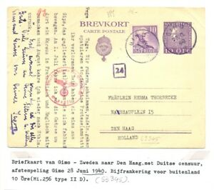 SWEDEN 1940 PS CARD TO HOLLAND -CENSORS - F/VF