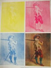 ANTIQUE PRINT C1930'S COLOUR PRINTING THREE COLOUR BLOCK PROCESS A MUSKETEER ART