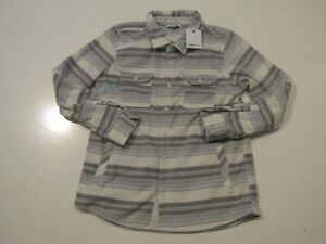 O'NEILL Womens Fleece Snap Up White Blue Mirage Long Sleeve Shirt Sz Medium NWT