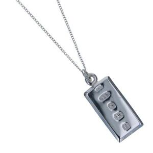 """TOC Sterling Silver  Hallmarked Ingot Pendant Necklace 18"""" CL4830"""