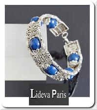 Lapis Lazuli Armband Edelstein Armreif  Versilbert Unikät Tibet Premium Qualität